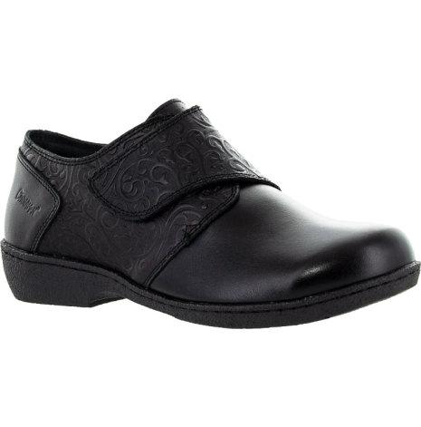 Flora svart kardborre sko med stretch