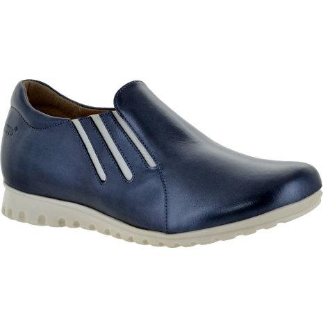Nadine marinblåmetallic lätt loafer med resårer