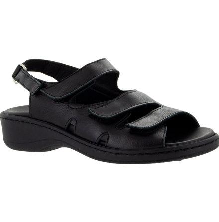 Anette svart sandal med hälrem och stort stretchparti