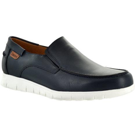 Jesper marinblå loafer med resårinfällningar