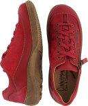 Teresia mocka/skinn röd snörsko med dragkedja