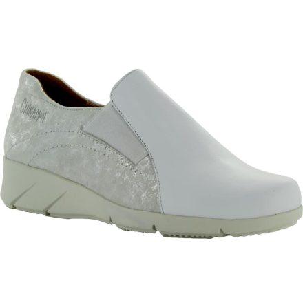 Nancy vit/silver loafer i mocka och lackat skinn