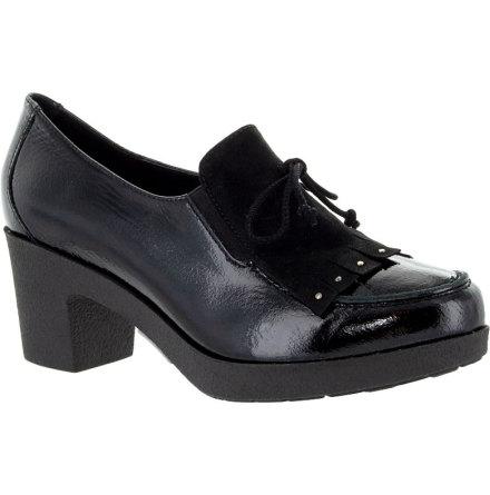 Antonia svart loaferpumps i lackat skinn och mockadetalj
