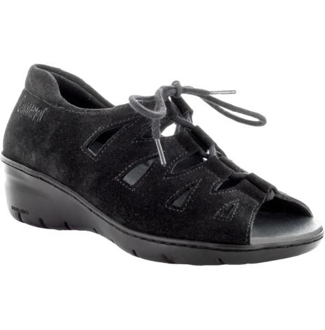 Beata mocka svart sandal med hälkappa och snörning