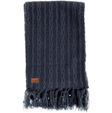 Stickad halsduk marinblå med fransar