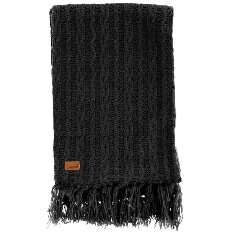 Stickad halsduk svart med fransar