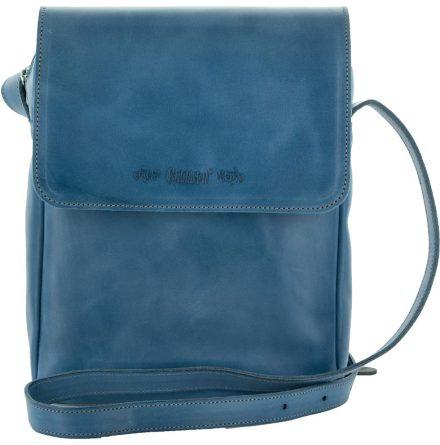Väska med lock och axelrem kornblå blixtlås och magnetlås i skinn
