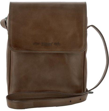 Väska med lock och axelrem mörkbrun blixtlås och magnetlås i skinn