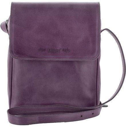 Väska med lock och axelrem lila, blixtlås och magnetlås i skinn