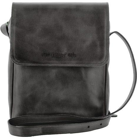 Väska med lock och axelrem svart blixtlås och magnetlås i skinn