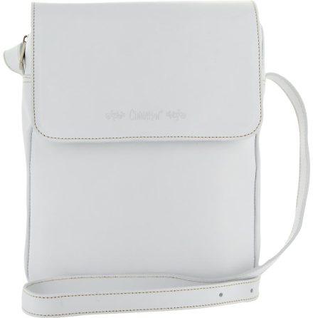 Väska med lock och axelrem vit, blixtlås och magnetlås i skinn