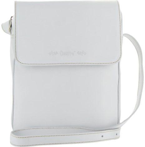Väska med lock och axelrem vit blixtlås och magnetlås i skinn