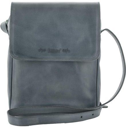 Väska med lock och axelrem blå, blixtlås och magnetlås i skinn