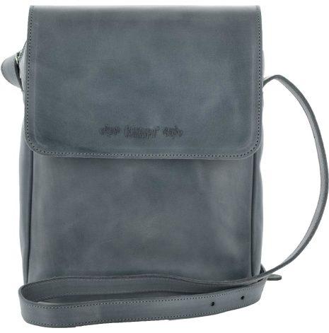 Väska med lock och axelrem blå blixtlås och magnetlås i skinn