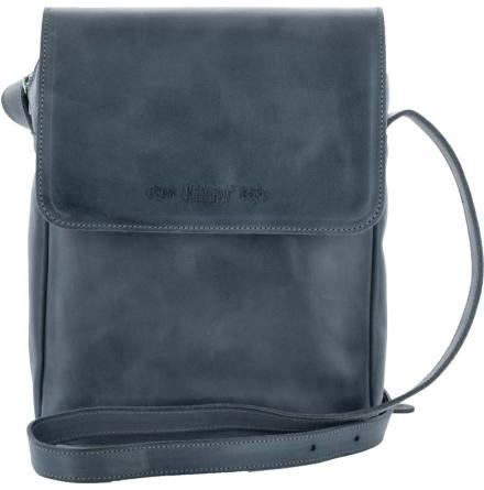 Väska med lock och axelrem marinblå, blixtlås och magnetlås i skinn