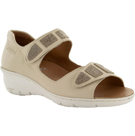 Birgit sandbeige sandal med hälkappa och kardborre