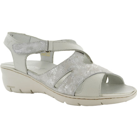 Bonnie vit sandal med kardborre runt ankeln