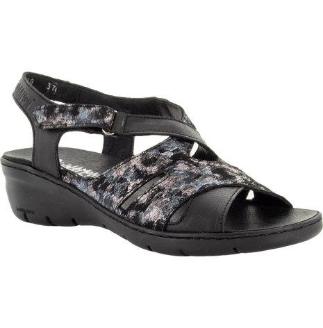 Bonnie svart sandal med kardborre runt ankeln