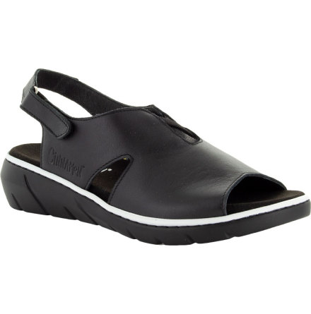 Marie svart hel sandal med hälrem