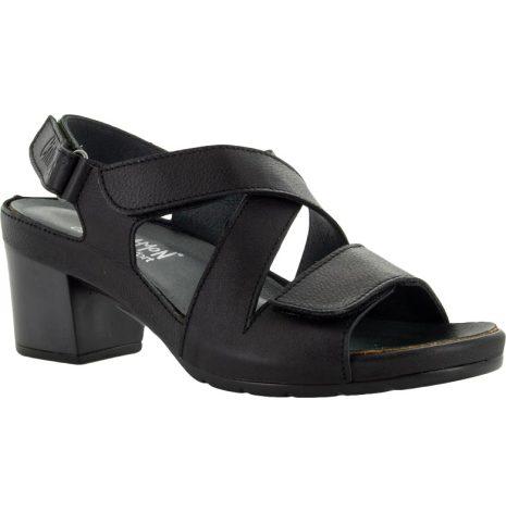 Lotta svart sandalett i skinn med kardborreremmar