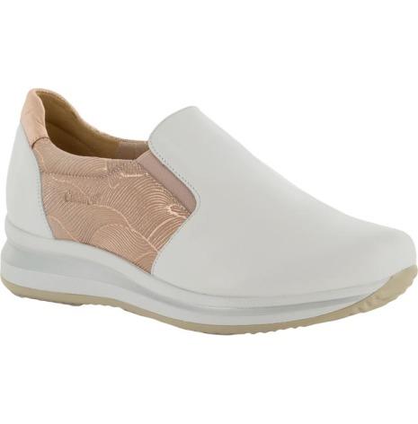 Irja vit/rosa sportig loafer i skinn
