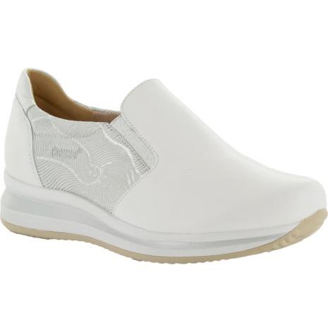 Irja vit/silver sportig loafer i skinn