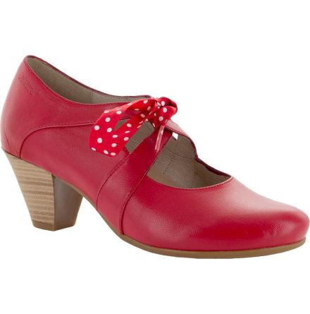 Daisy röd pumps i skinn med prickigt ripsband