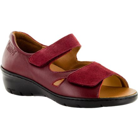 Beatrice mocka/skinn mörkröd sandal med hälkappa och stretchparti