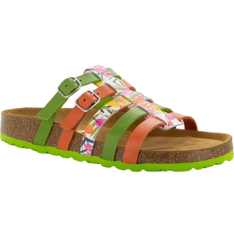 """Johanna limegrön """"bio""""sandal med reglerbara spännen"""