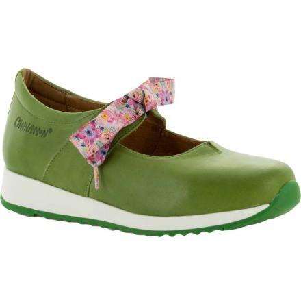 Lina äppelgrön ballerina med knytband