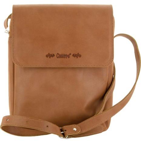 Väska med lock och axelrem konjak blixtlås och magnetlås i skinn