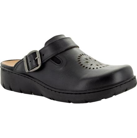 """Kiara svart """"trä""""sko med perforeringar o fällbar rem"""