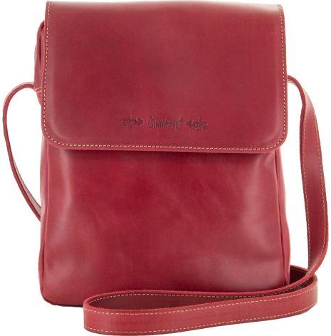 Väska med lock och axelrem röd blixtlås och magnetlås i skinn