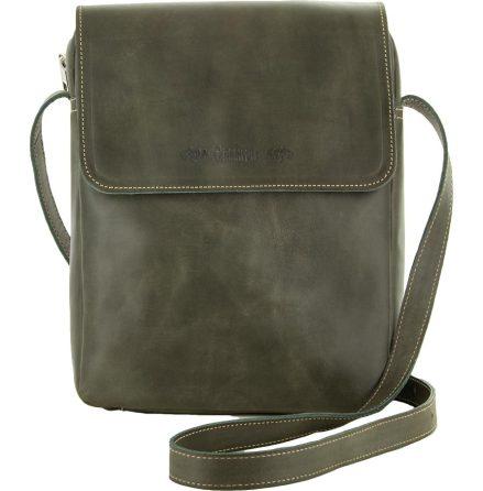 Väska med lock och axelrem khaki blixtlås och magnetlås i skinn