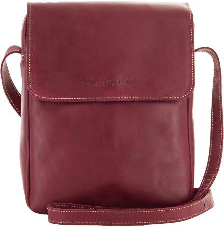 Väska med lock och axelrem mörkröd blixtlås och magnetlås i skinn