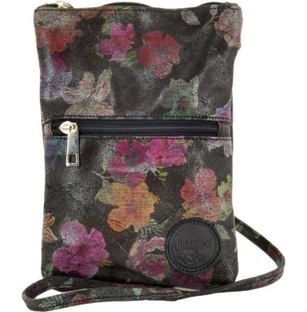 Citybag blommig mocka svart 202 i skinn med blommigt foder