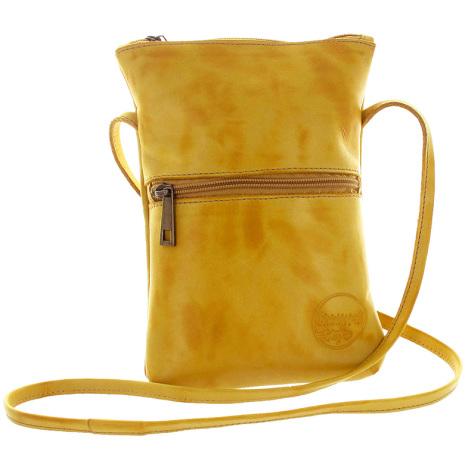 Citybag senapsgul i skinn med blommigt foder