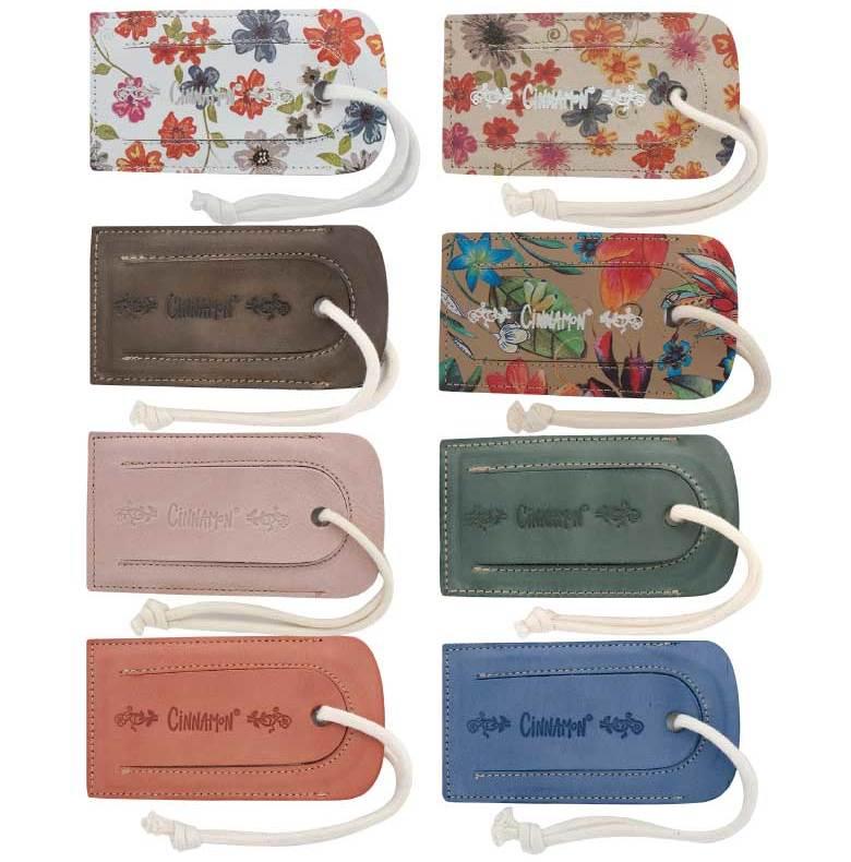 Baggagetag i skinn för adress med Cinnamonlogo