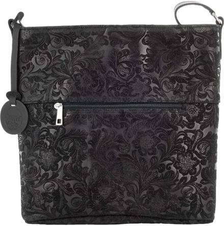 Stor mockaväska präglad blommig svart med blommigt textilfoder