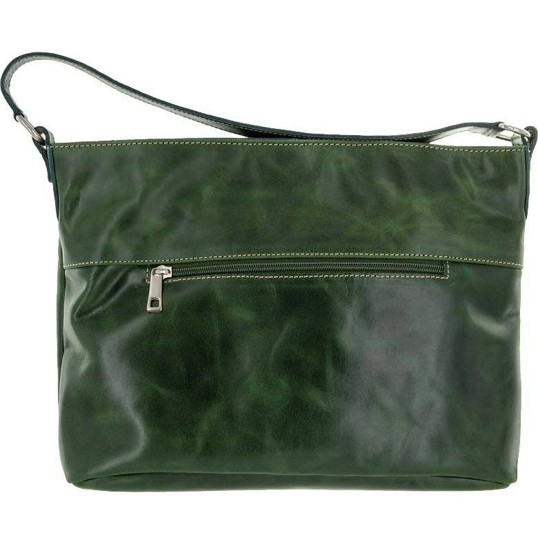 Skinnväska A4 grön med blommigt textilfoder