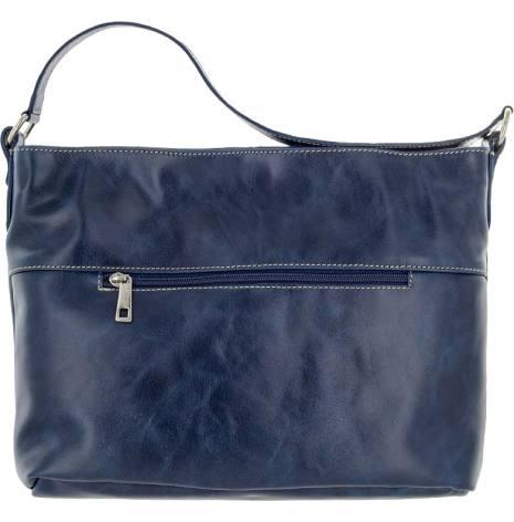 Skinnväska A4 marinblå med blommigt textilfoder
