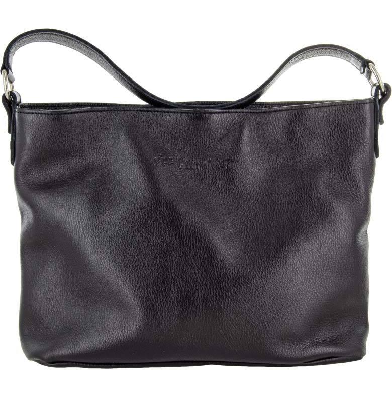 Skinnväska A4 svart med blommigt textilfoder