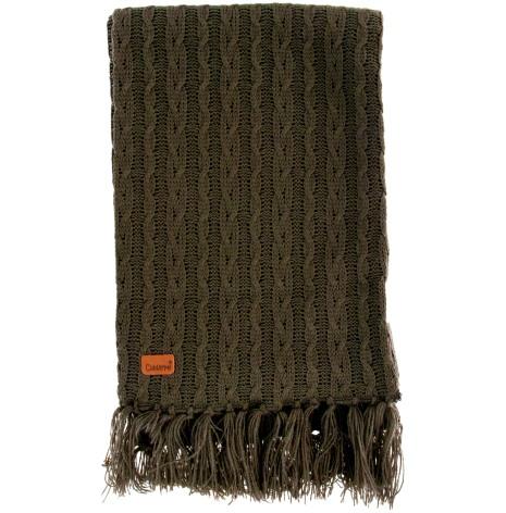 Stickad halsduk khaki med fransar