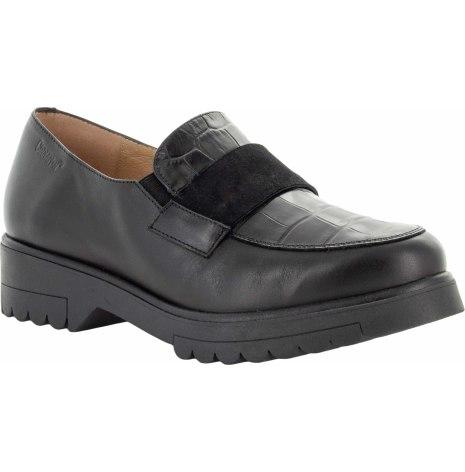 Paula svart loafer med croco mönster