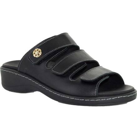 Ann svart slip-in sandal med kardborrar