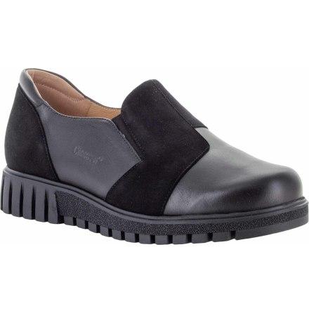 Signe svart loafer med resårer och mockadetaljer