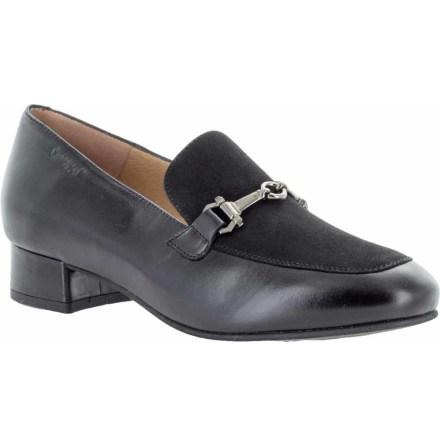 Agnes svart loafers i skinn/mocka med klossklack