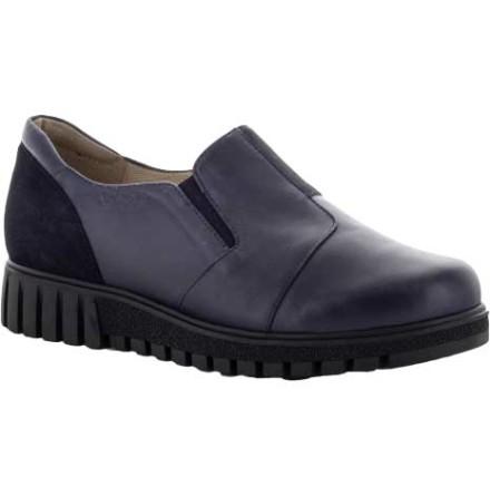 Signe marinblå loafer med resårer och mockadetaljer