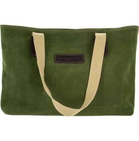 Mockaväska olivgrön blixtlås och magnetlås i skinn