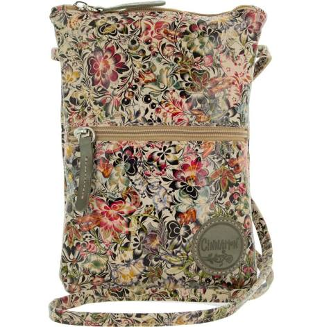 Citybag blommig 211 i skinn med blommigt foder